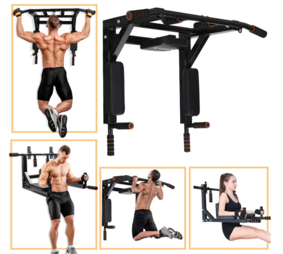 Supports to 440 Lbs Power Tower for Home Gym Wall Mounted Chin Up Bar for Home Gym Slsy Multifunctional Wall Mounte Pull Up Bar and Dip Station